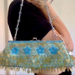 ADORABLE AQUAMARINE mini beaded purse